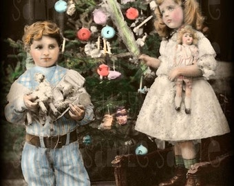Christmas -Noel, Tree and Children, Shabby Chic, French Postcard 1907 - Scan, Gift Tag - Instant Digital Download FC028