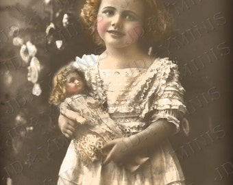 Digital Download French Christmas, Eleanora and her New Dolly, Victorian - French Postcard  Instant Download- Scan, Gift Tag - FC029