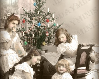 French Christmas, Julienne and her Sisters Celebrate Noel - French Postcard Scan, Gift Tag -Instant Digital Download FC031