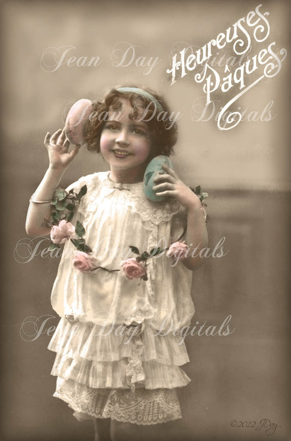 Elloise and her Eggs, Heureuses Paques- French Postcard 1916 - Easter Instant Download - FrA077