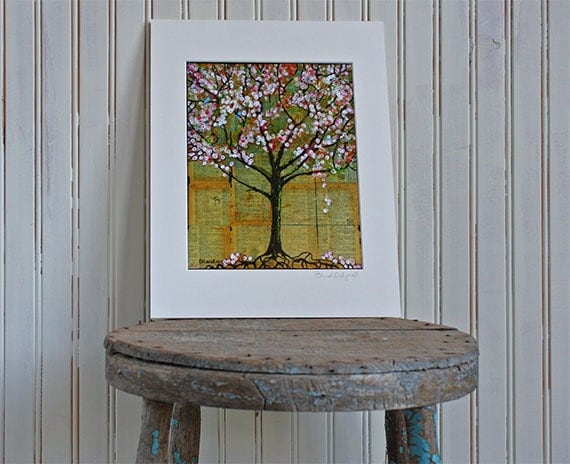 Art Print Tree with Birds with 11X14 Mat, Dictionary Pages, Archival