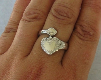 RARE Large Heart  Vintage Wallace Sterling Spoon Ring  dmfsparkles