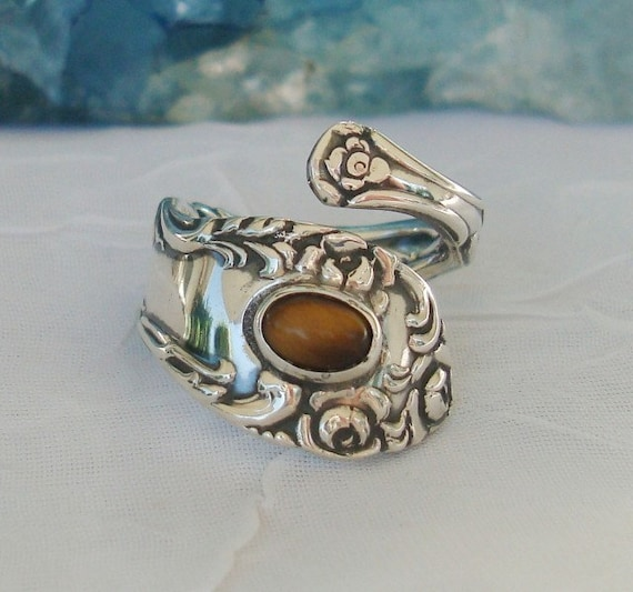 Vintage Tiger Eye Old English Towle Sterling Spoon Ring dmfsparkles
