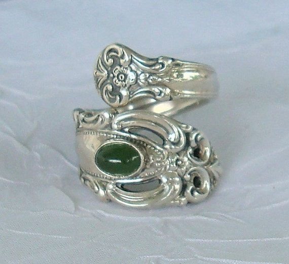 1973 Jade Grand Duchess Towle Vintage Sterling Spoon Ring dmfsparkles