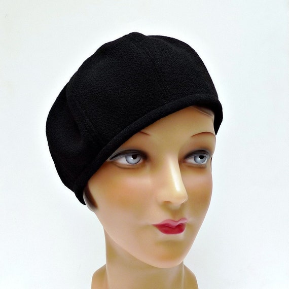 Women's Hat - 1930s Black Wool Crepe Beret  - MADE TO ORDER - 3 Weeks to Ship