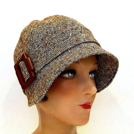 Brown Tweed Cloche with Vintage Wooden Buckle - Women's Hat - Made to Order in Your Size