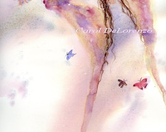 Watercolor Painting,  Angel Art, Angel Painting, Angel Watercolor, Butterfly Art, Angel Art Print Titled Butterfly Angel