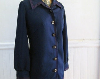 Vintage Nautical Navy Top / Light Jacket with MOD Red Stitching - size medium