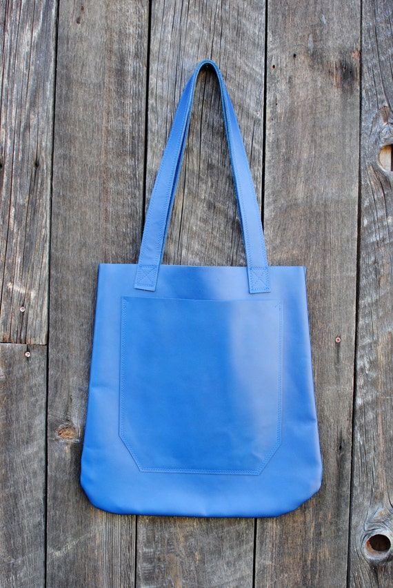 Cobalt Blue Market Leather Tote