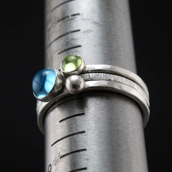 Blue and Green Stacking Silver Rings - Topaz and Peridot, Set of 3