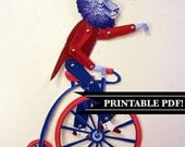 DIY Circus Lion on Pennyfarthing Bicycle, Printable PDF Paper Puppet Doll Set, for Paper Play or Vintage Party Decor