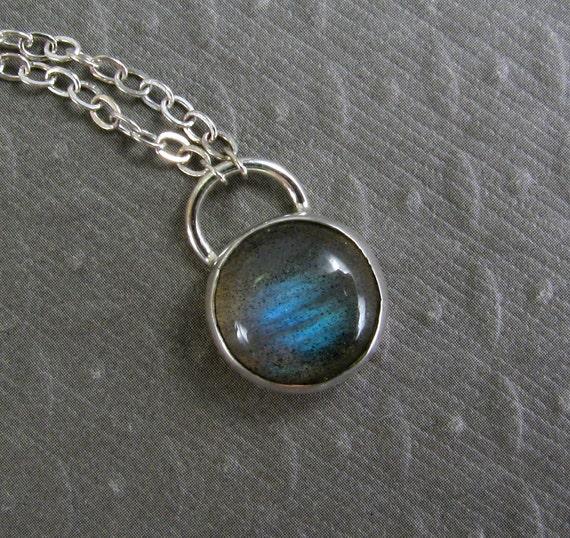 Labradorite Necklace in Sterling Silver - Blue Stone Necklace - Stone Pendant Necklace - Bezel
