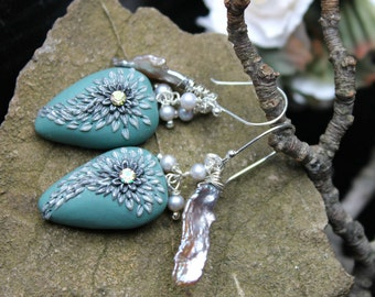 Angel wing earrings with silver  pearl, biwa pearl and clay details - Watching Over You