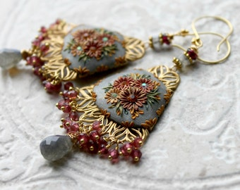 January Birthstone - Pink Rhodolite Garnet, faceted Labradorite and vintage filigree in vermeil gold with clay details -  The Wedding Bells