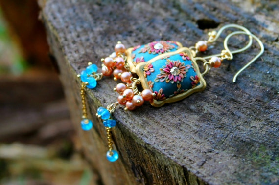 golden freshwater pearls,neon blue apatite and polymer clay floral long dangle earrings -Ballerina in Blue