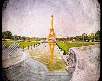 Paris Eiffel Tower, Paris Photography, Eiffel Tower photo, Eiffel Tower decor, Paris decor, orange, green, french decor