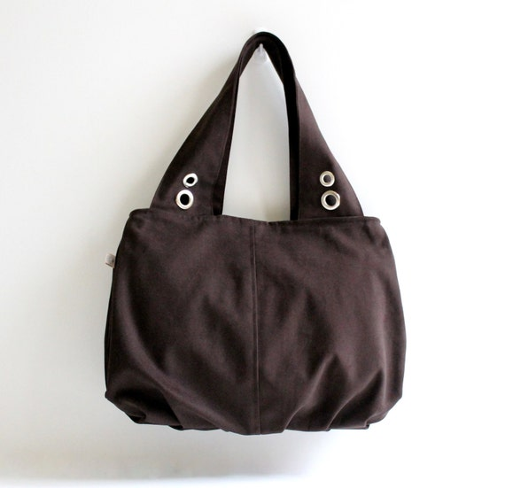 Grandy Large Hobo Bag in Chocolate Brown / Double Shoulder Bag / Diaper Bag / Pleated Bag / Zipper Closure / Zipper Pocket / Spring / Summer