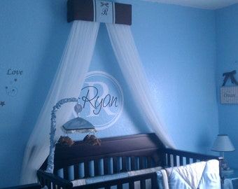 BOY Crib Crown Canopy Prince Brown Blue Padded FREE Embroiderd Monogram initial name Bedroom decor nursery So Zoey Boutique Custom SaLe