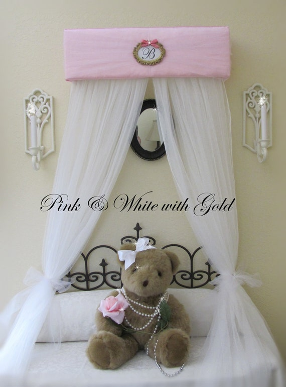 Bed Crown Canopy Princess with Drapes Personalized FREE Upholstered SaLe Pink White Gold