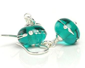 Teal Green Earrings | Lampwork Earrings with Sterling Silver | Handmade Glass Earrings UK SRA