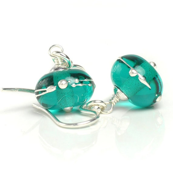 Teal Green Earrings   Lampwork Earrings with Sterling Silver   Handmade Glass Earrings UK SRA