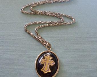 Vintage Reverse Crystal Cross Pendant Necklace