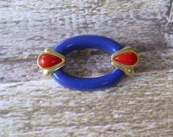 Vintage Red and Navy Blue Oval Brooch