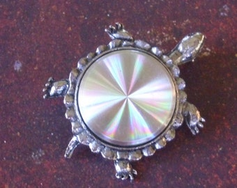 Vintage Iridescent Turtle Brooch