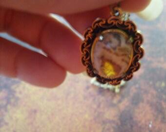 Vintage Oval Natural Stone Pendant Necklace