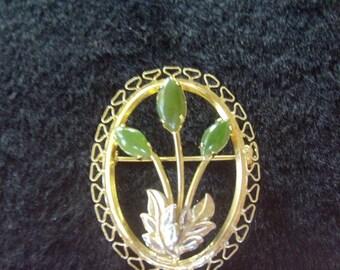 Vintage Jade Floral Oval Pin Brooch