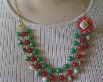 Noel Flower Jade Layered Necklace