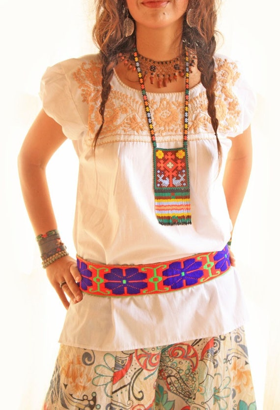White Embroidered Mexican Blouse 17