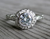 Moissanite Engagement Twig Halo Ring: White, Yellow, or Rose Gold; .50ct Forever Brilliant ™
