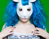 Rabbit mask in white leather