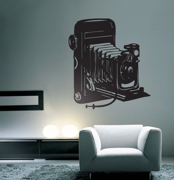 Large Antique Camera Vinyl Wall Decal Graphic