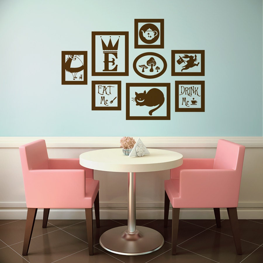 alice in wonderland vinyl wall decal frames kit with by