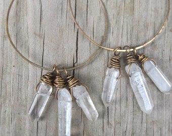 Crystal Hoop Earrings Custom Hoops Healing Crystal Jewelry DanielleRoseBean Crystal Earrings Raw Quartz Hoop Earrings Cyber Monday