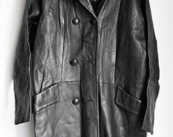 vintage 70's leather coat,  woman's 3/4 length, super cool