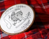 Embroidery Pattern, DIY, lumberjack, plaid decor woodsman logger masculine funny redwork, pattern for hand embroidery