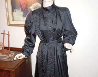 Vintage 70's Women's Rain Coat Black Trench  Lined- Cute Style Full Skirt  Fitted -Small Bust 34""