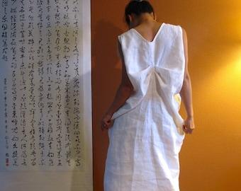 white linen dress bottle folds made to order