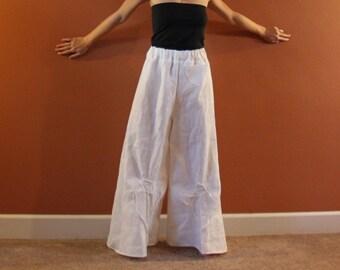 mid weight linen rose tucks super wide leg pants plus size custom order / white palazzo pants / wide leg linen pants / custom length size
