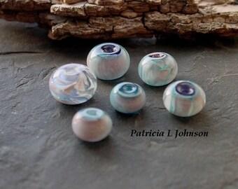 SALE! Half Price! Powder Blue and Pink OOAK Handmade Lampwork Glass Bead Set 18