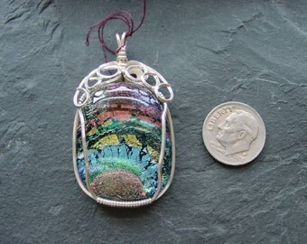 SALE 50 % off. Rainbow Fused Dichroic Glass Sterling Silver Wire Wrapped Pendant. 37