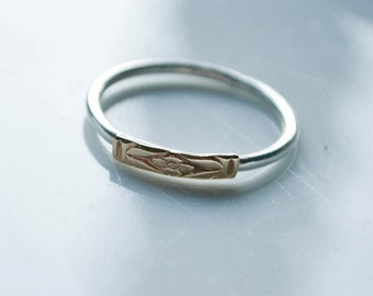 SALE - Forget-Me-Not ring: sterling silver silver band features 14K yellow gold floral design (made to order)