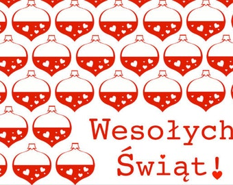 Wesolych Swiat: Happy Holidays in Polish (READY TO MAIL) - postcard