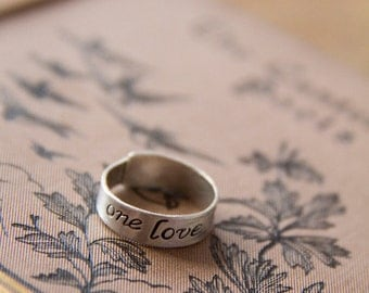 One Love: Handmade Sterling SIlver Band with 14kt Gold Rivet