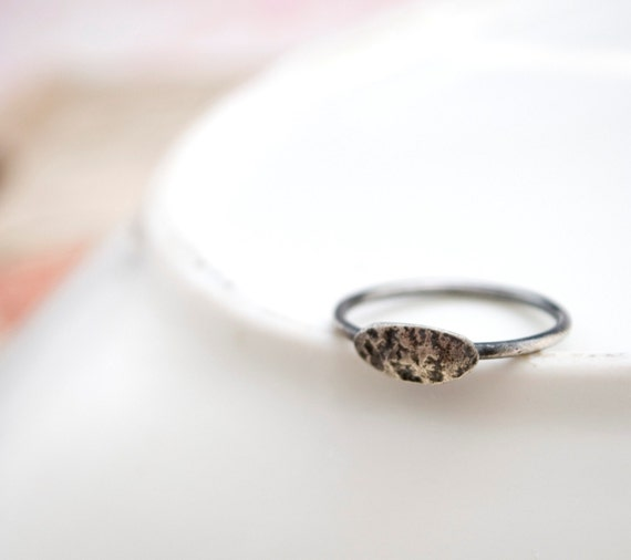 SALE: Traveled No. 2 - hammered oval (made to order in your size) - ring