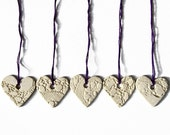 Cream heart decorations with vintage lace texture Set of 5 ceramic ornaments Home and garden decorations