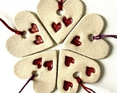 Christmas Decorations 5 Cream & Red Rustic Hearts Set of 5 Modern Christmas Tree Decorations Scandi style UK British Seller Made in England
